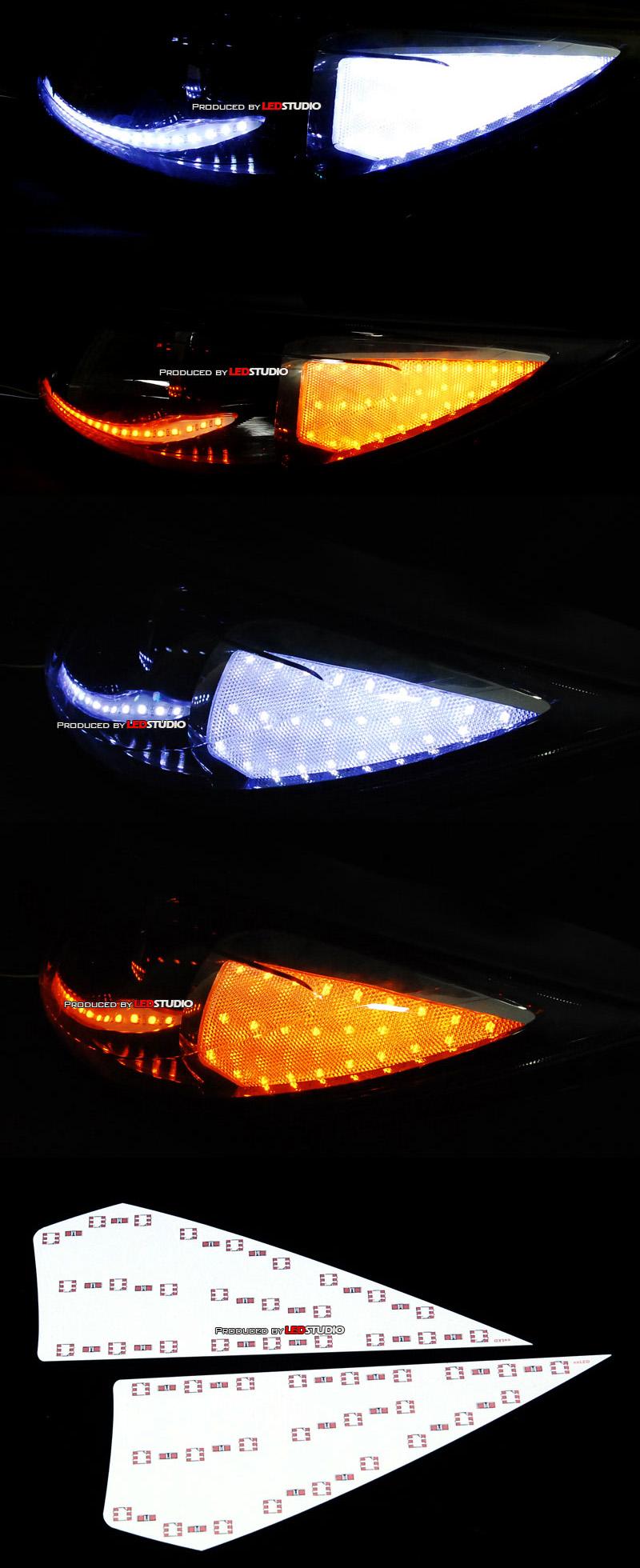 Платы боковых рефлекторов фар KIA SPORTAGE 2011 (бело-желтые) (2 шт)