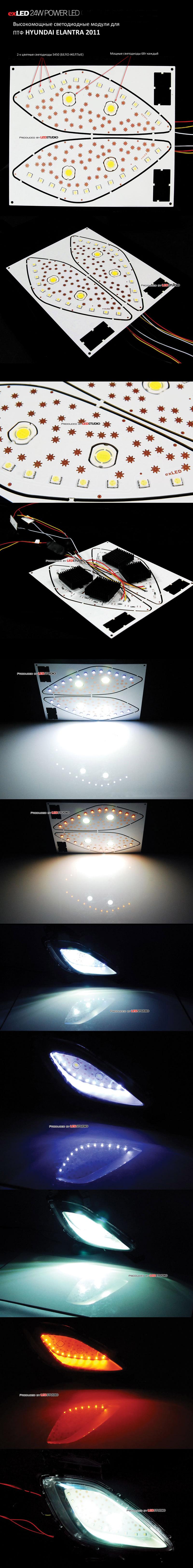 Светодиодные модули ДХО 24W для ПТФ HYUNDAI ELANTRA 2011