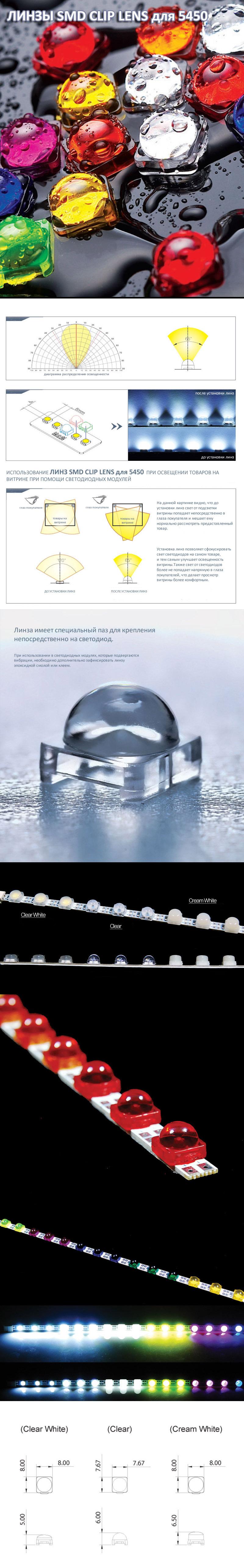 Линза SMD CLIP LENS для 5450 CLEAR WHITE (дымчато-белая)